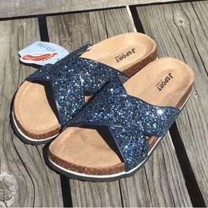 🎉SUPER SALE! Beautiful Glitter Navy Slide Sandals